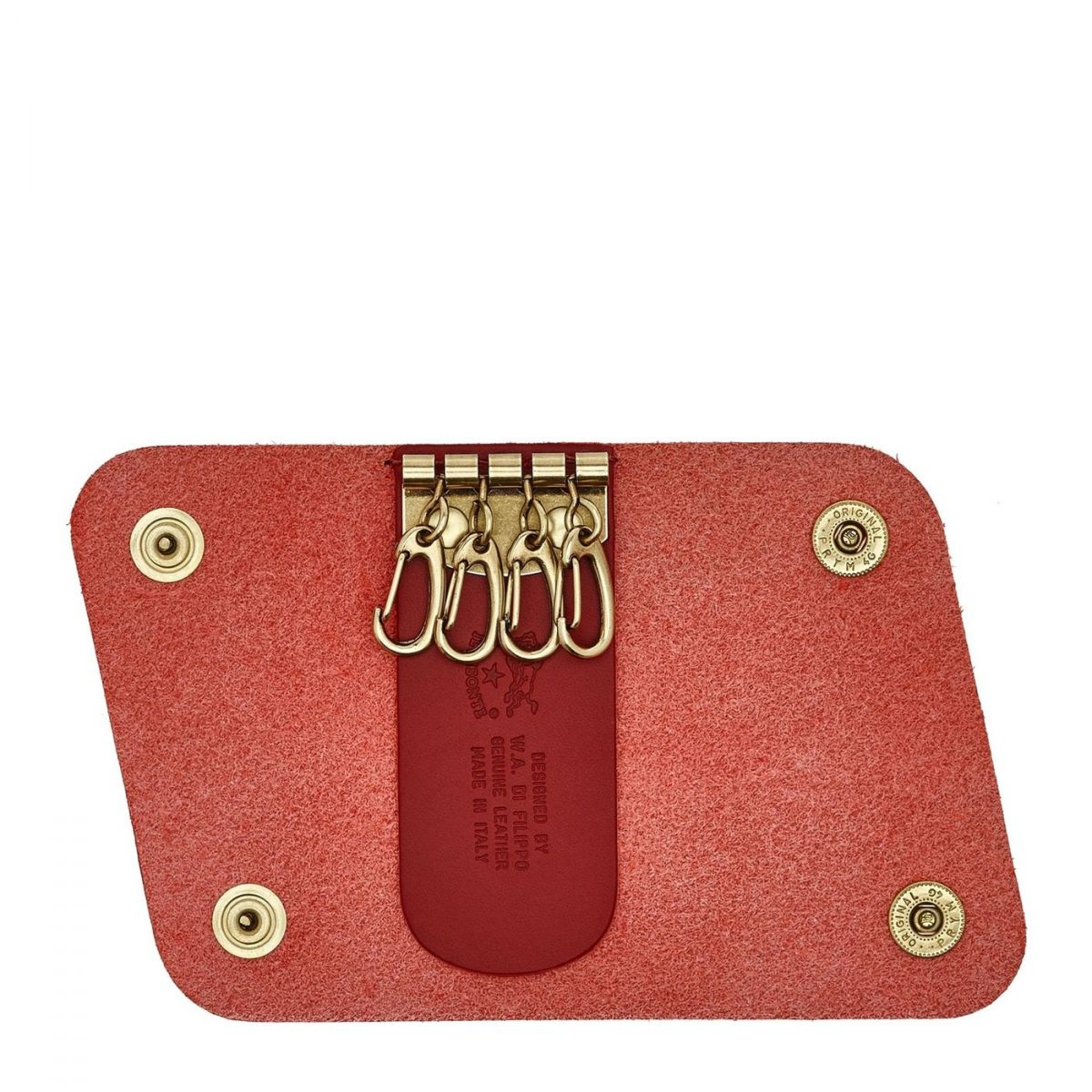 Keyring in Cowhide Double Leather SKH011 color Red Rubino | Details