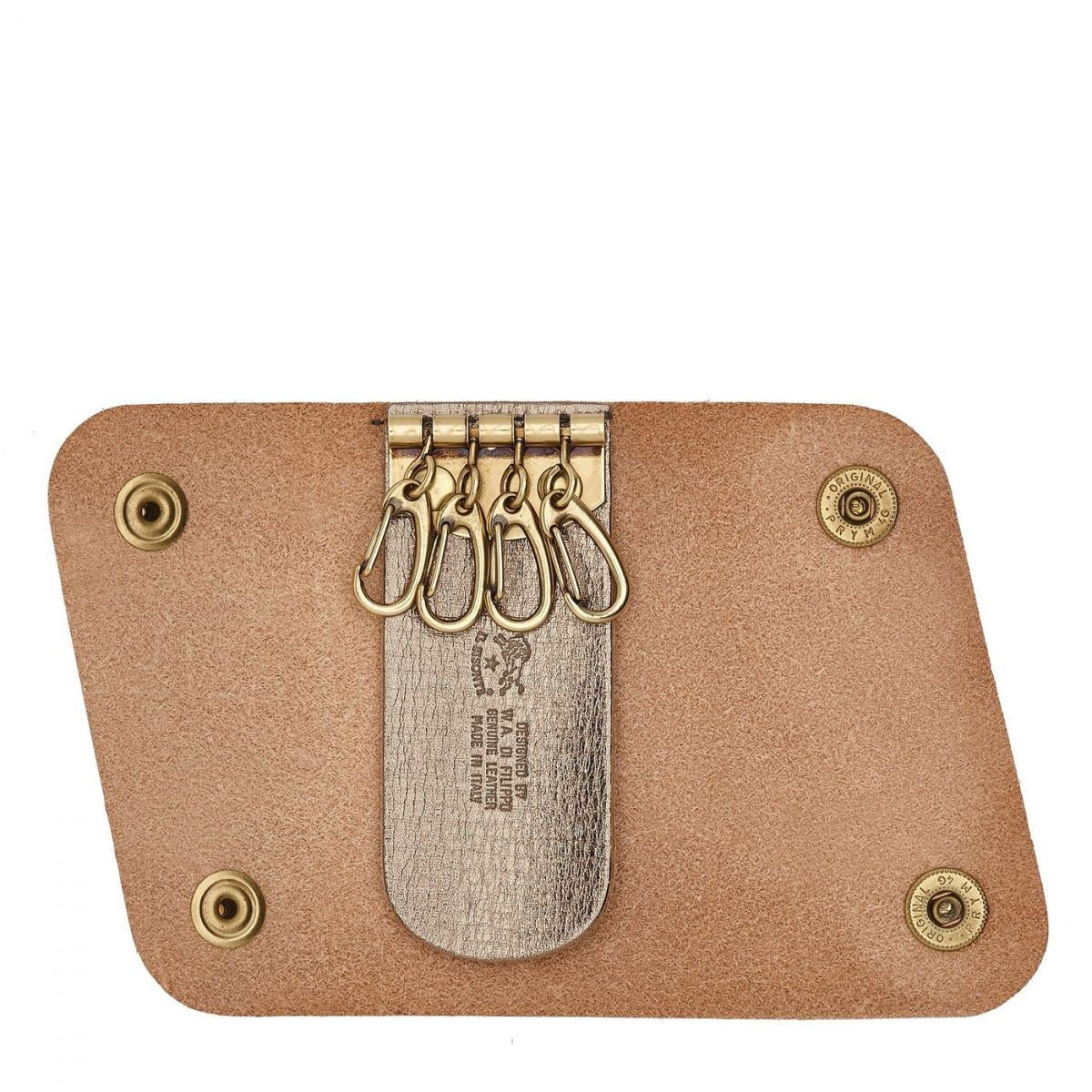 Keyring  in Leather SKH011 color Metallic Bronze | Details