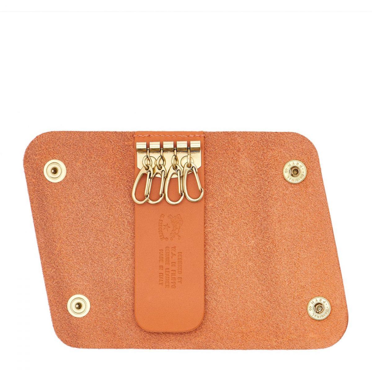 Keyring in Cowhide Double Leather color Orange - SKH026 | Details