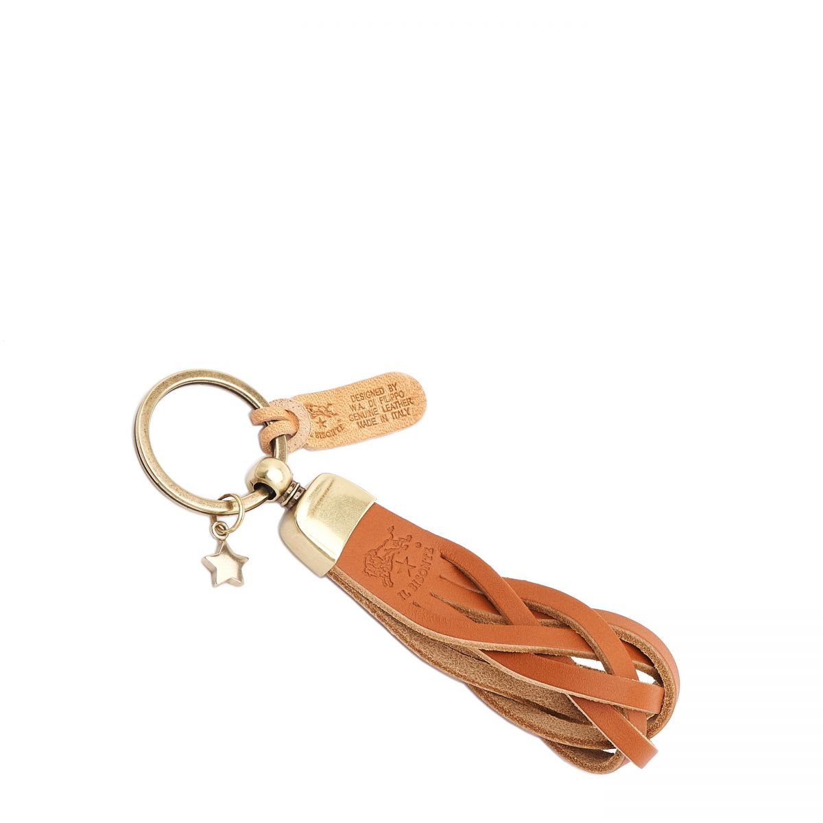 Saturnia - Keyring in Cowhide Double Leather color Caramel - SKH040   Details