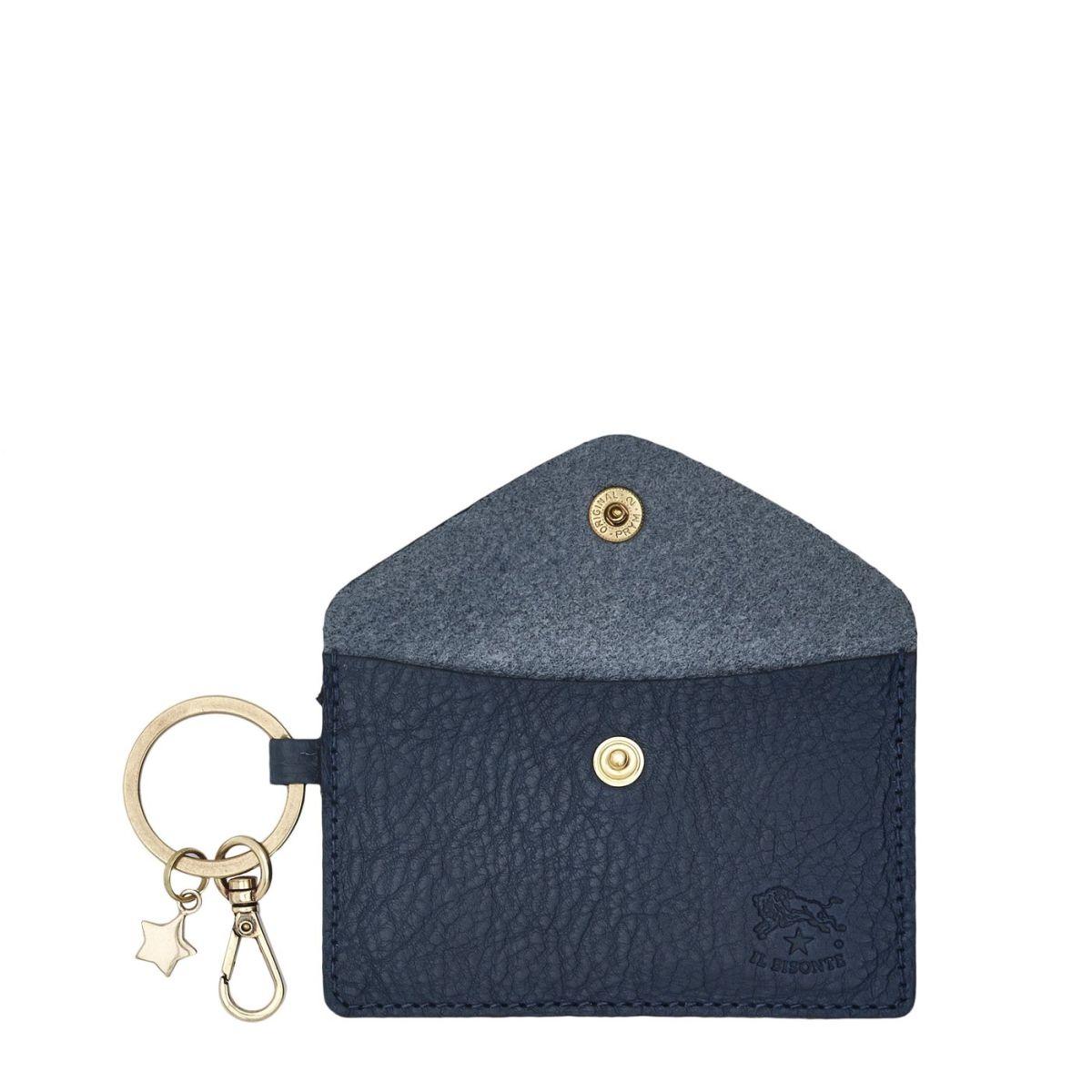 Scarlino - Porte Clefs pour Femme  en Cuir De Vachette Doublé SKH042 couleur Bleu | Details
