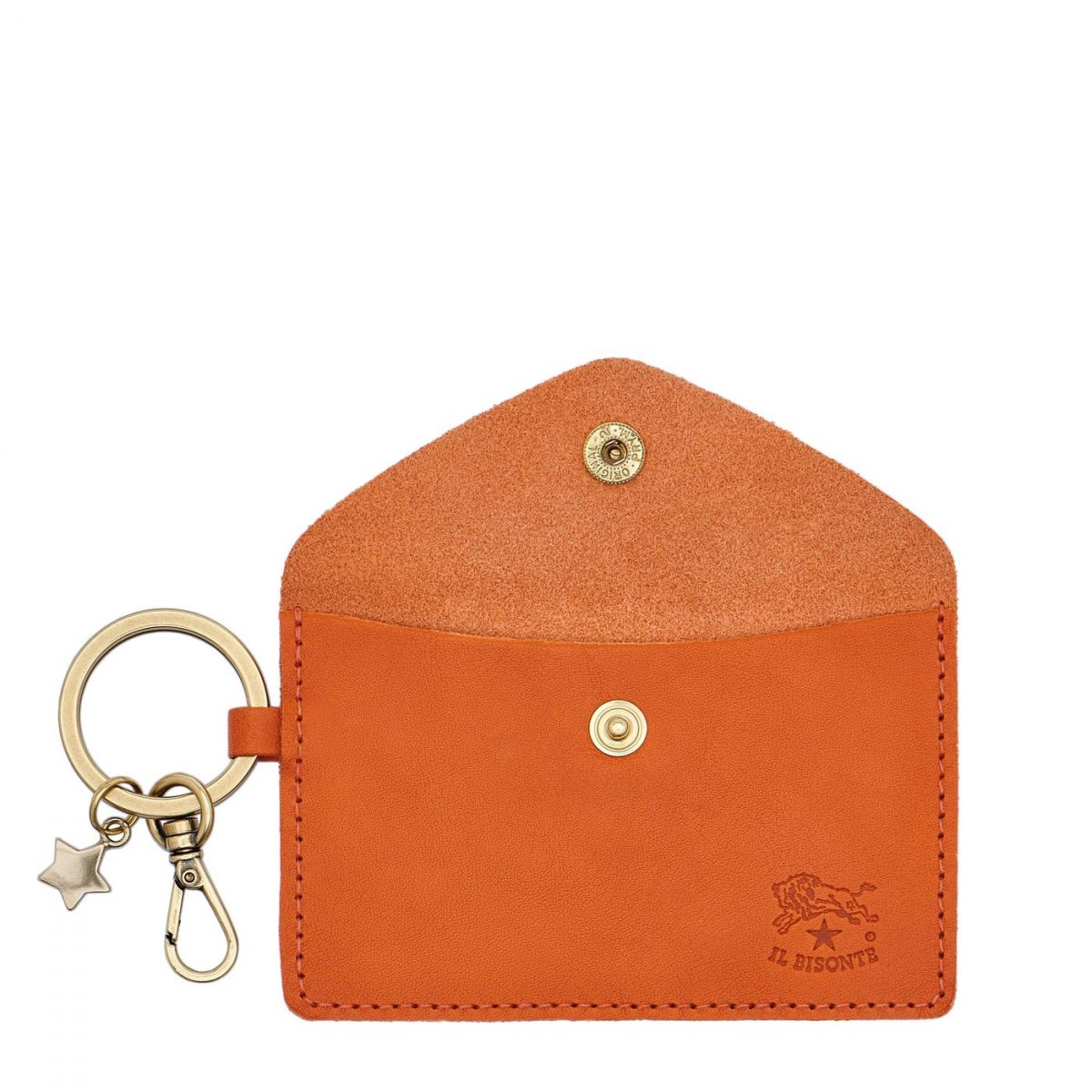 Scarlino - Women's Keyring in Cowhide Double Leather color Orange - SKH042 | Details