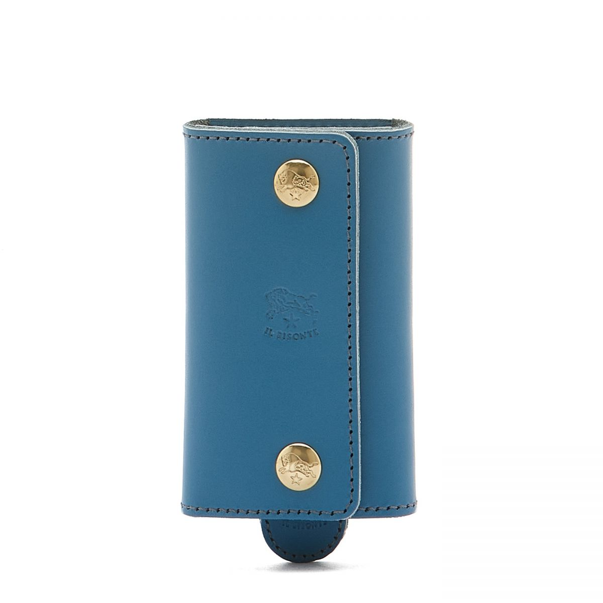 Keyring in Cowhide Double Leather color Blue Teal - SKH045   Details