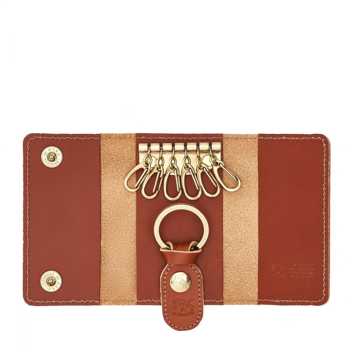 Keyring in Cowhide Double Leather SKH045 color Dark Brown Seppia | Details