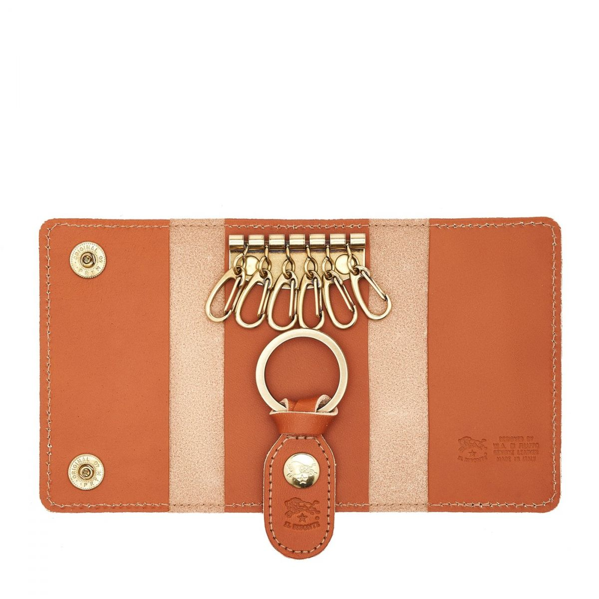 Keyring in Cowhide Double Leather SKH045 color Caramel | Details