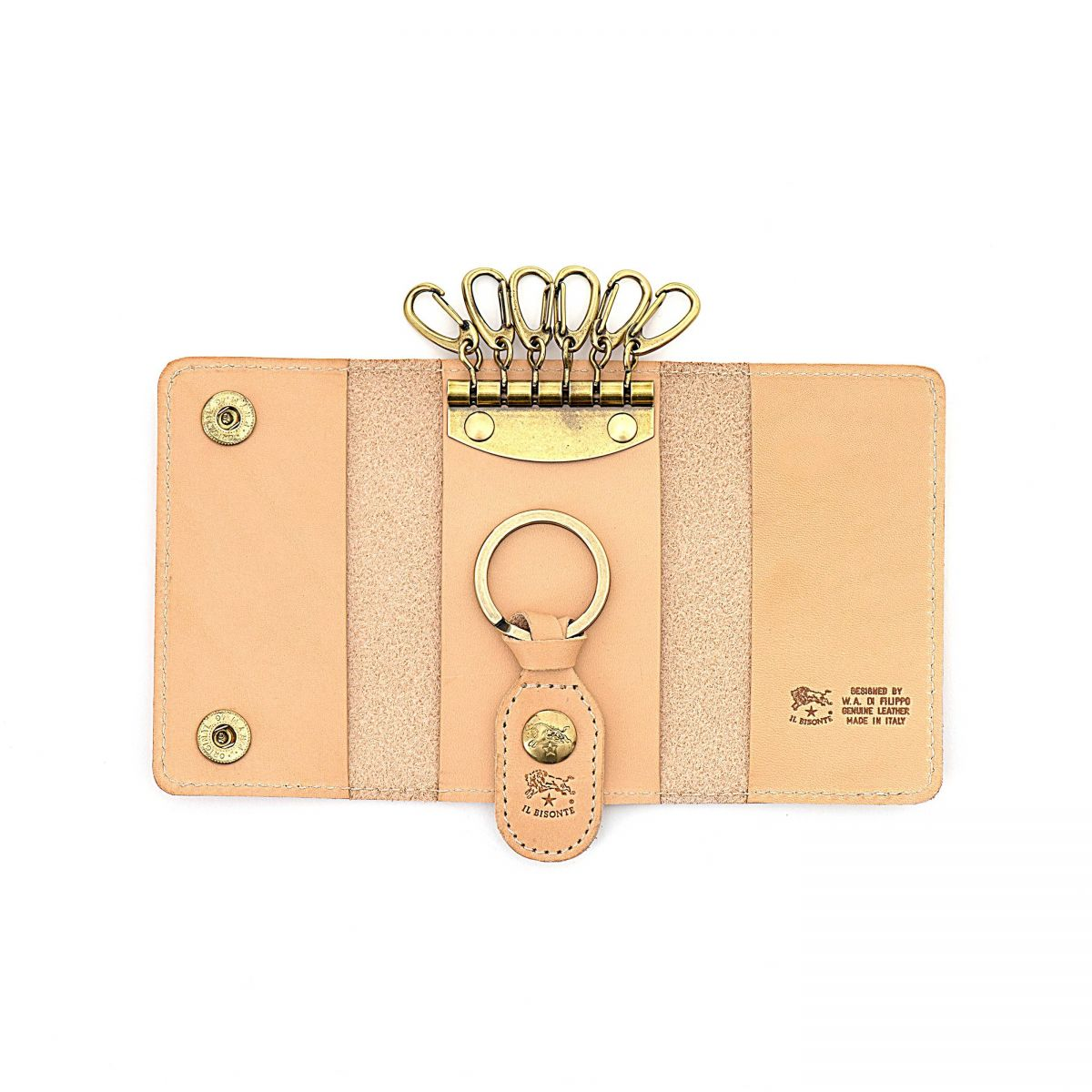 Keyring in Cowhide Double Leather SKH045 color Natural | Details