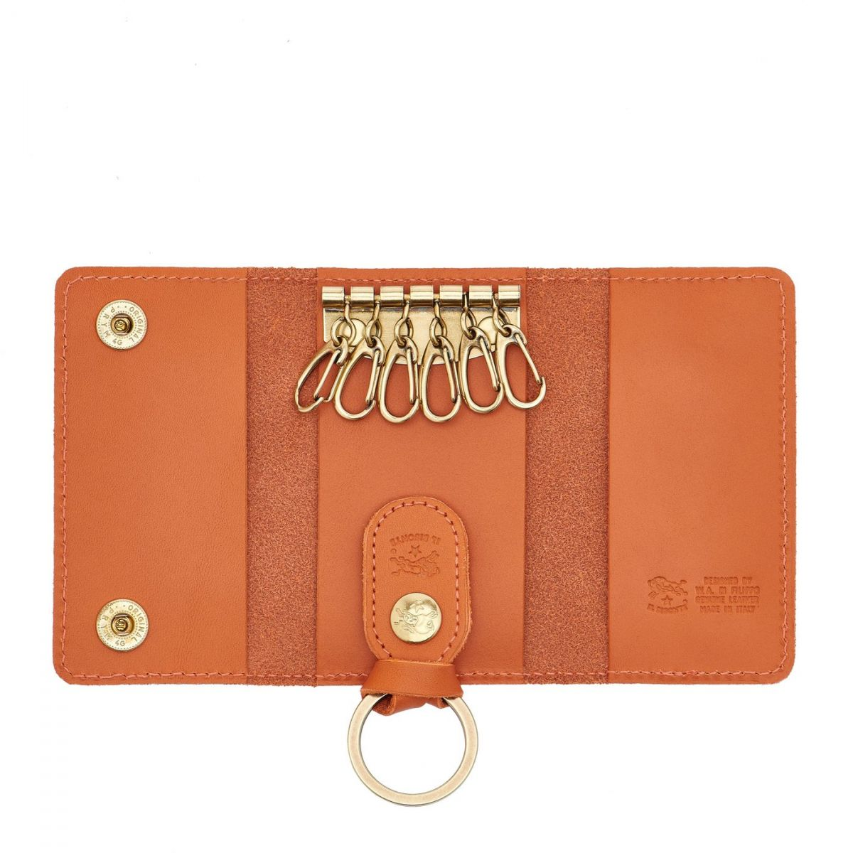 Keyring in Cowhide Double Leather color Orange - SKH045   Details