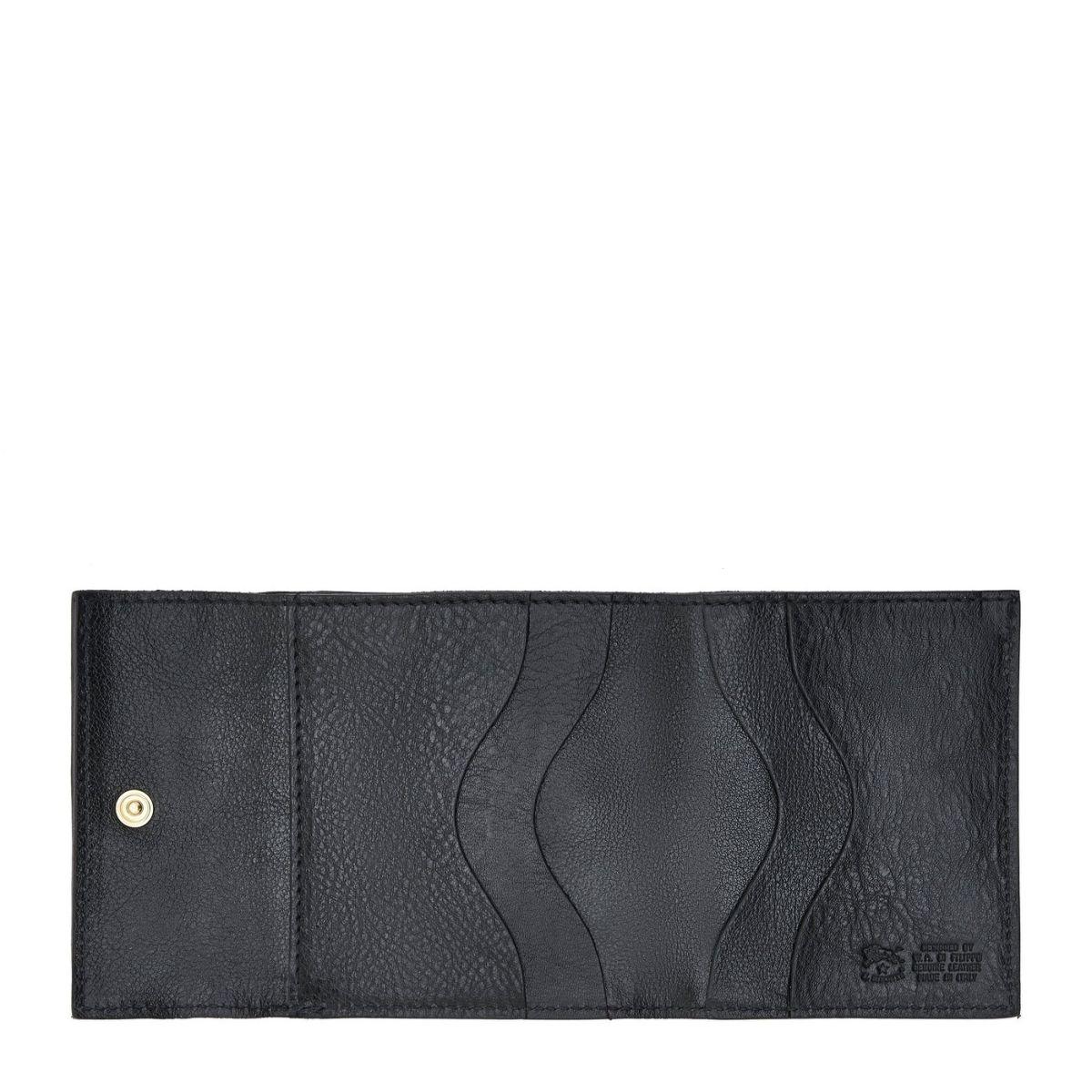 Portefeuille  en Cuir De Vachette Doublé SMW022 couleur Noir | Details
