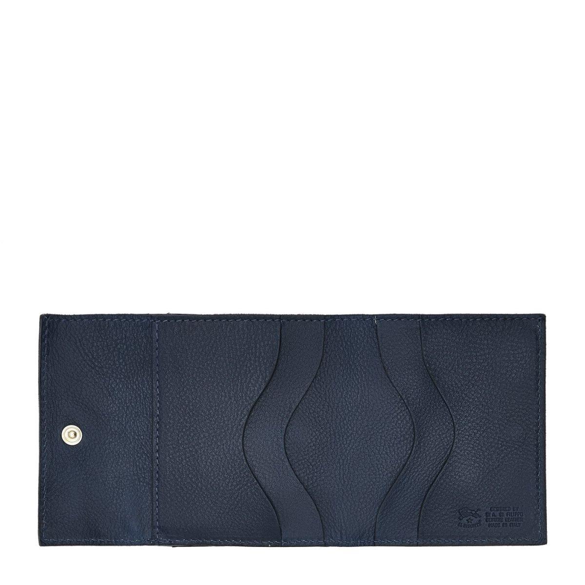 Portafoglio in Doppia Pelle Di Vacchetta colore Blu - SMW022 | Details