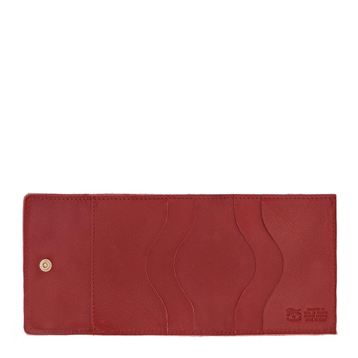 Portefeuille en Cuir De Vachette Doublé couleur Rouge - SMW022 | Details