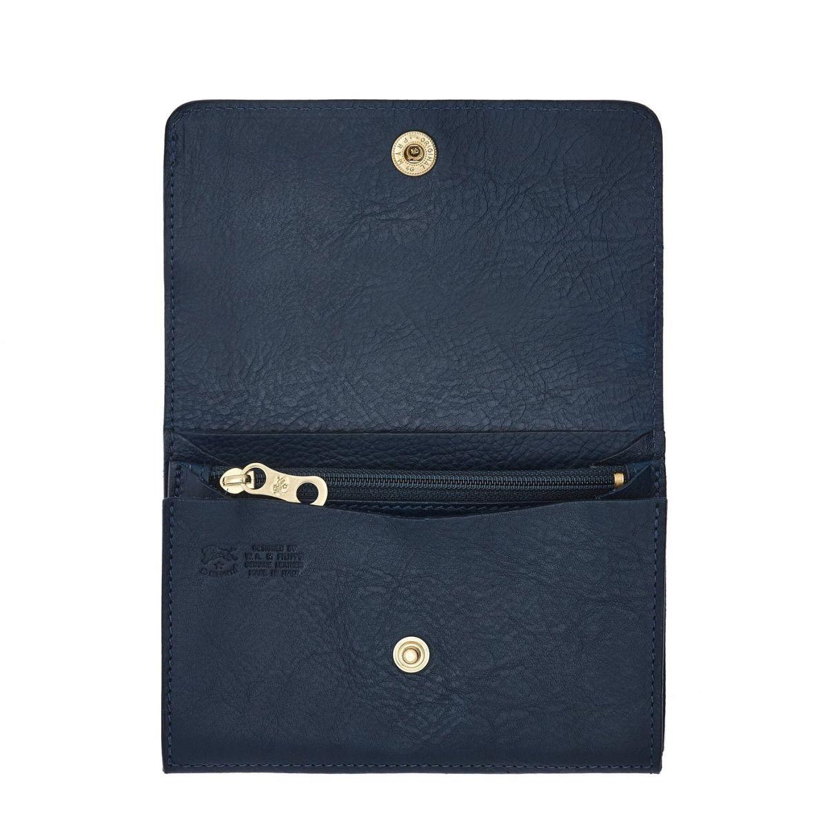 Portefeuille  en Cuir De Vachette Doublé SMW028 couleur Bleu | Details