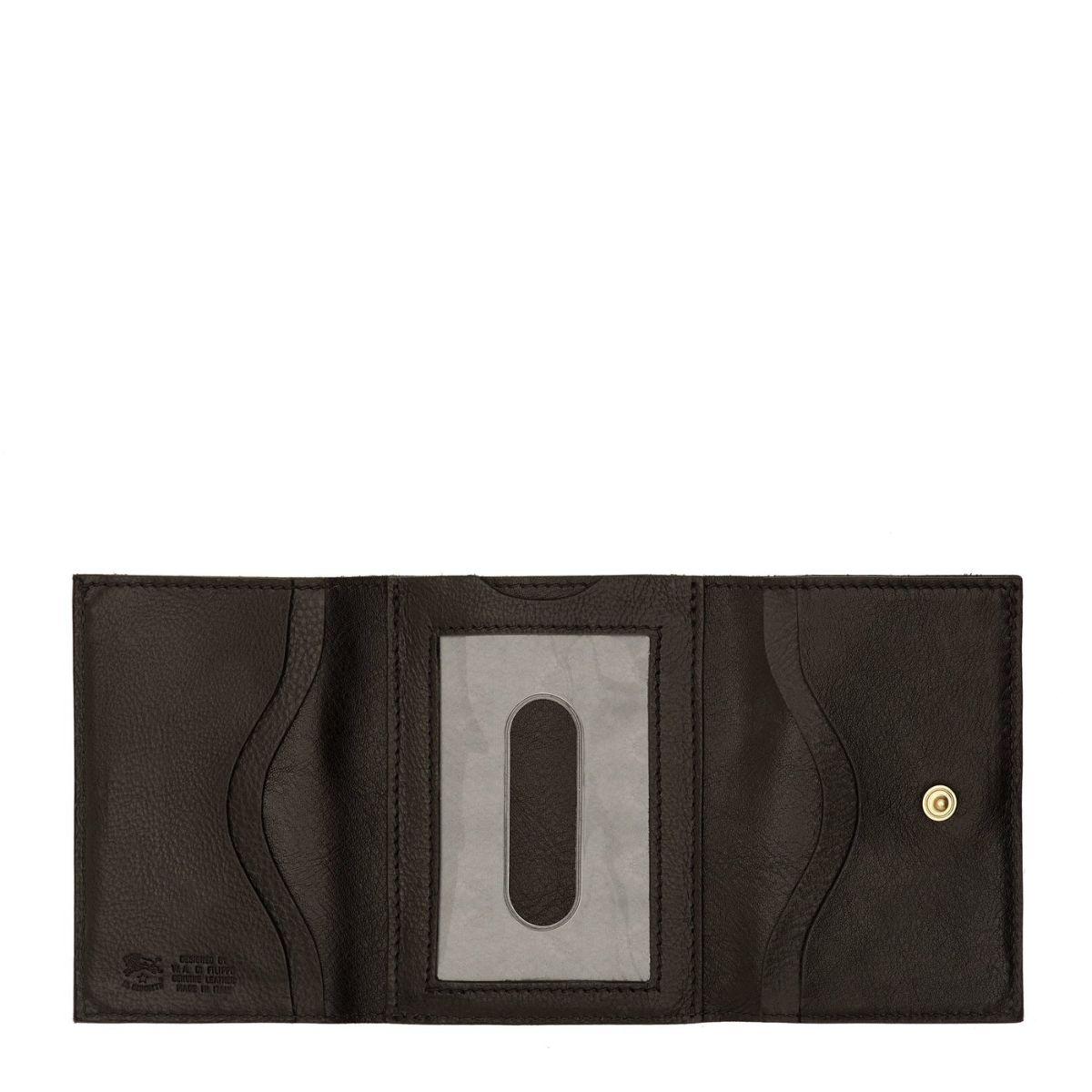 Portafoglio  in Doppia Pelle Di Vacchetta SMW036 colore Nero | Details