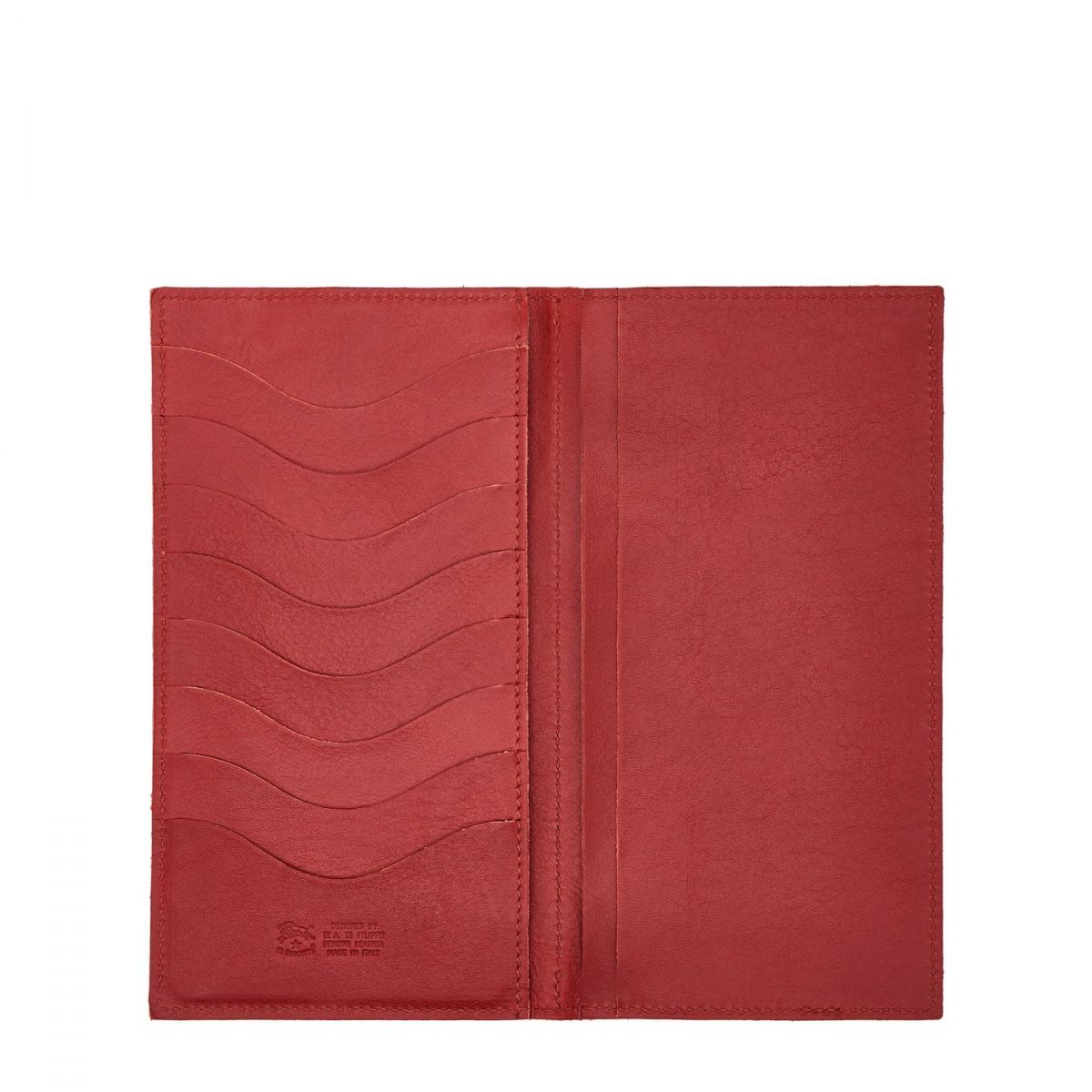 Portefeuille en Cuir De Vachette Doublé couleur Rouge - SMW043 | Details