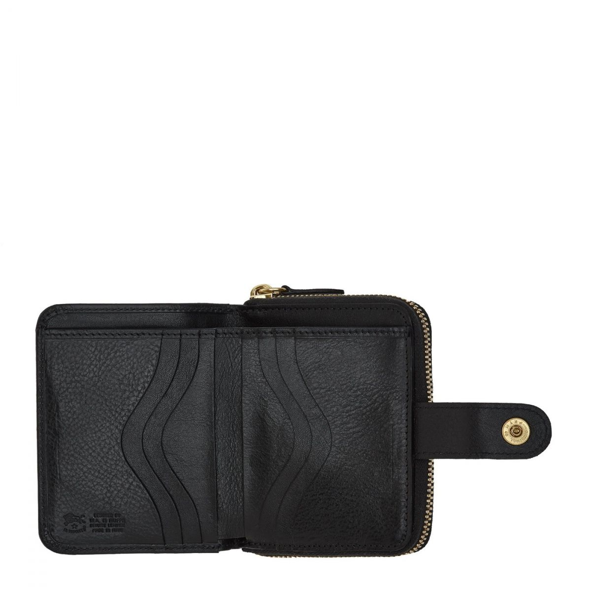 Women's Wallet  in Cowhide Double Leather SMW067 color Black | Details
