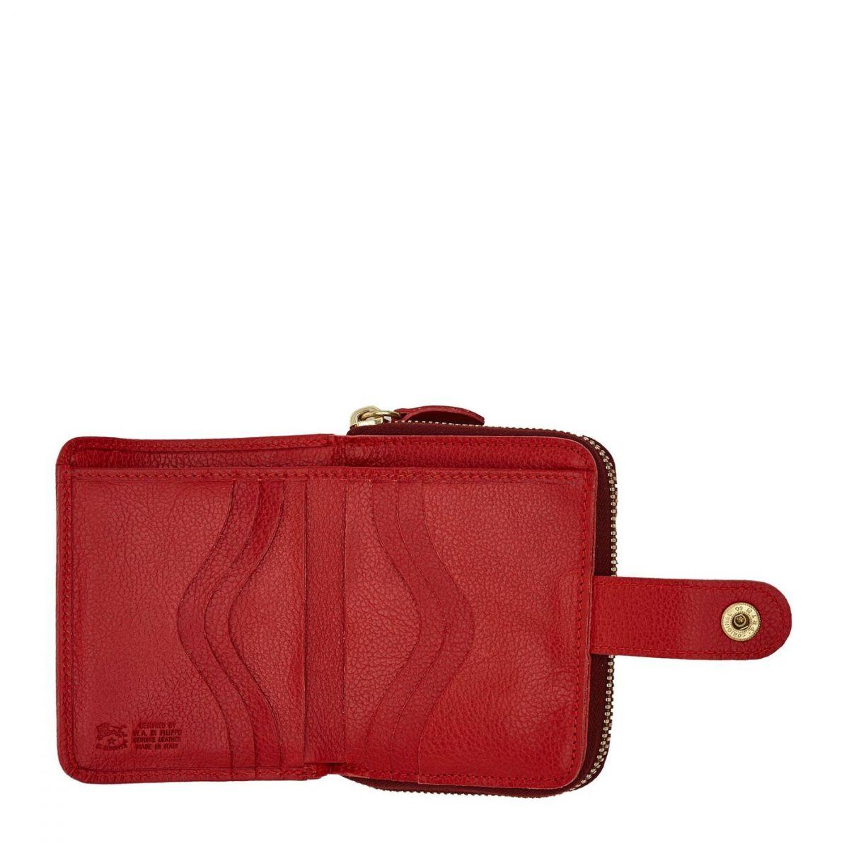 Portefeuille pour Femme  en Cuir De Vachette SMW067 couleur Rouge | Details