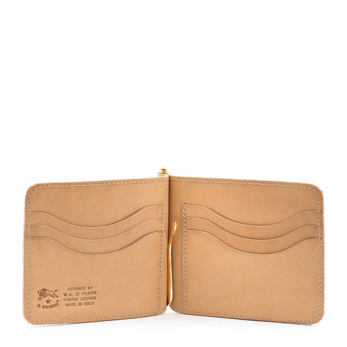 Men's Wallet in Cowhide Double Leather color Natural - SMW076 | Details