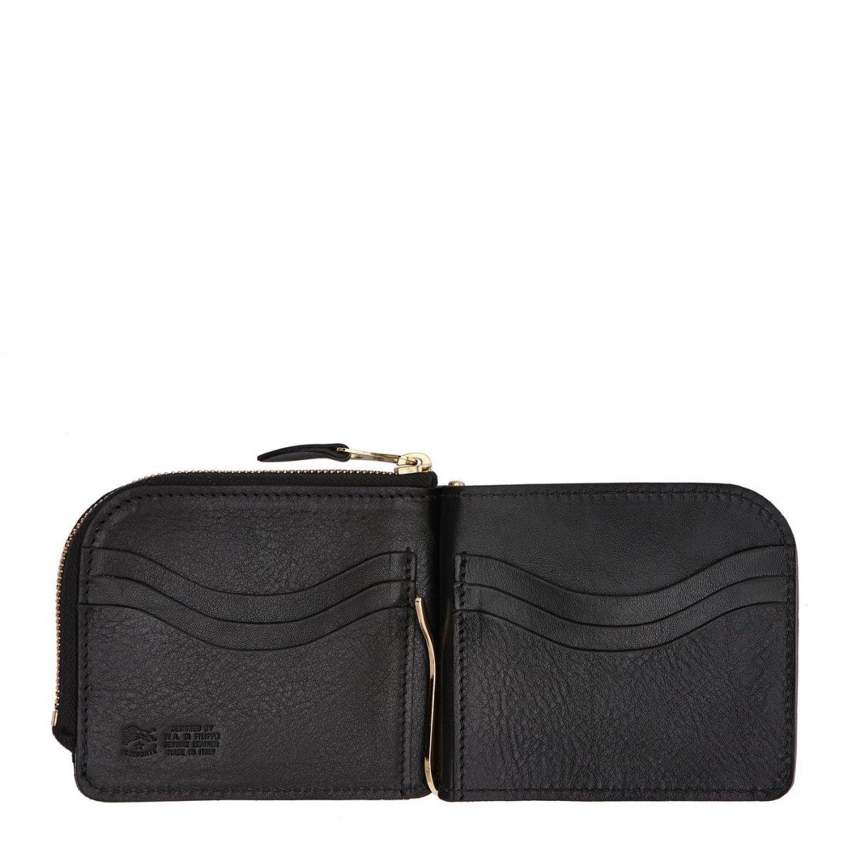 Portefeuille pour Homme en Cuir De Vachette Doublé couleur Noir - SMW077 | Details