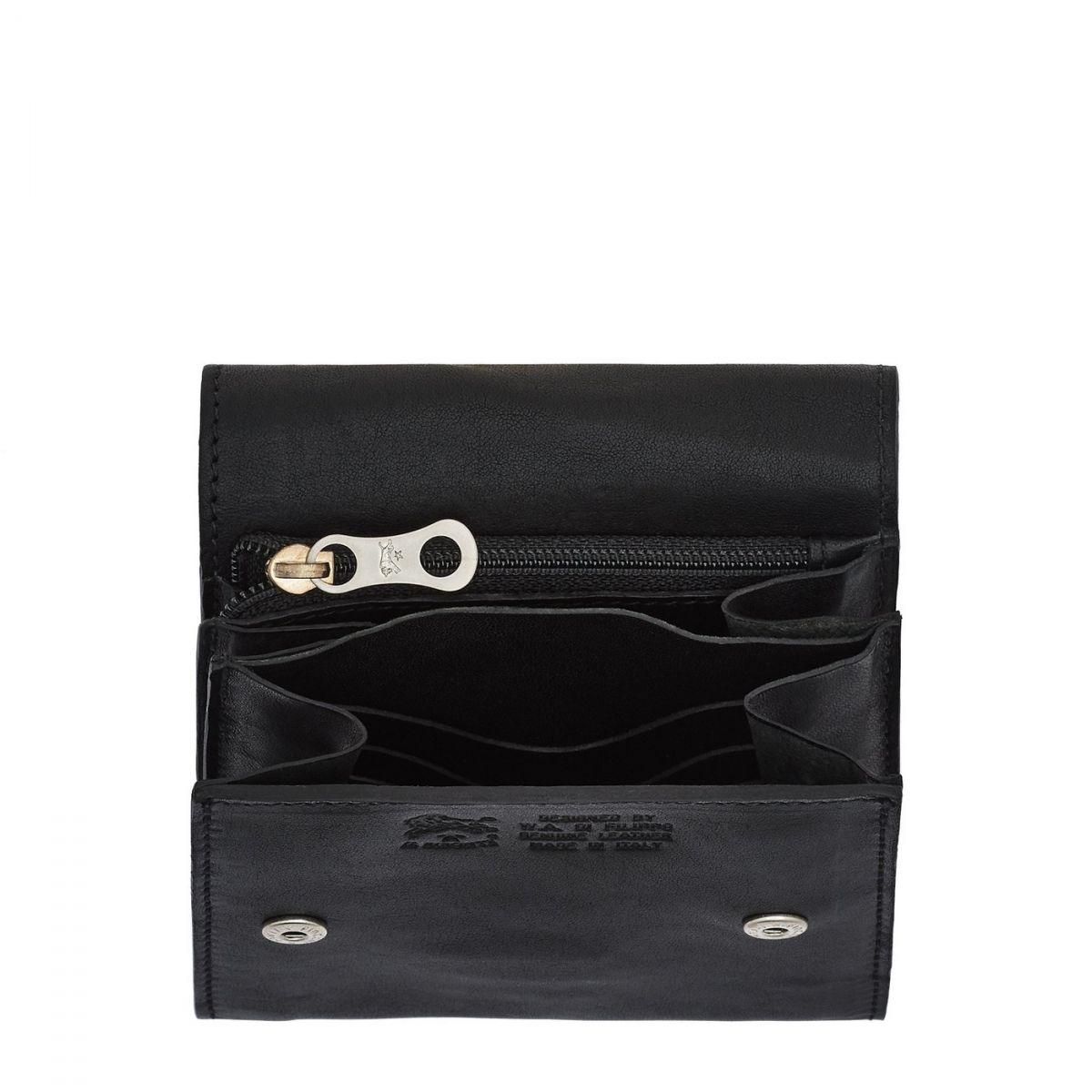 Men's Wallet in Vintage Cowhide Leather SMW083 color Black | Details