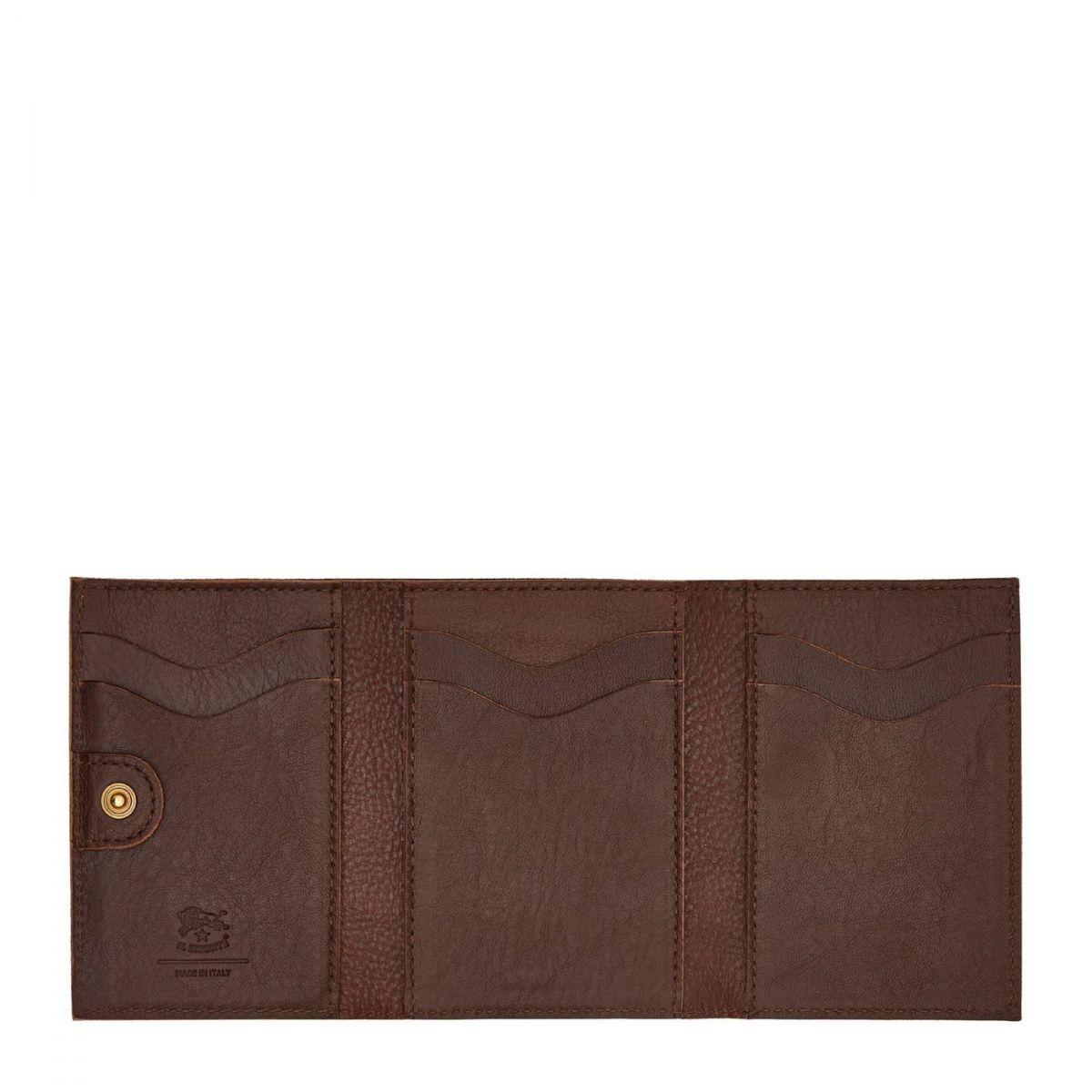 Portefeuille pour Femme  en Cuir De Vachette SMW098 couleur Brun | Details