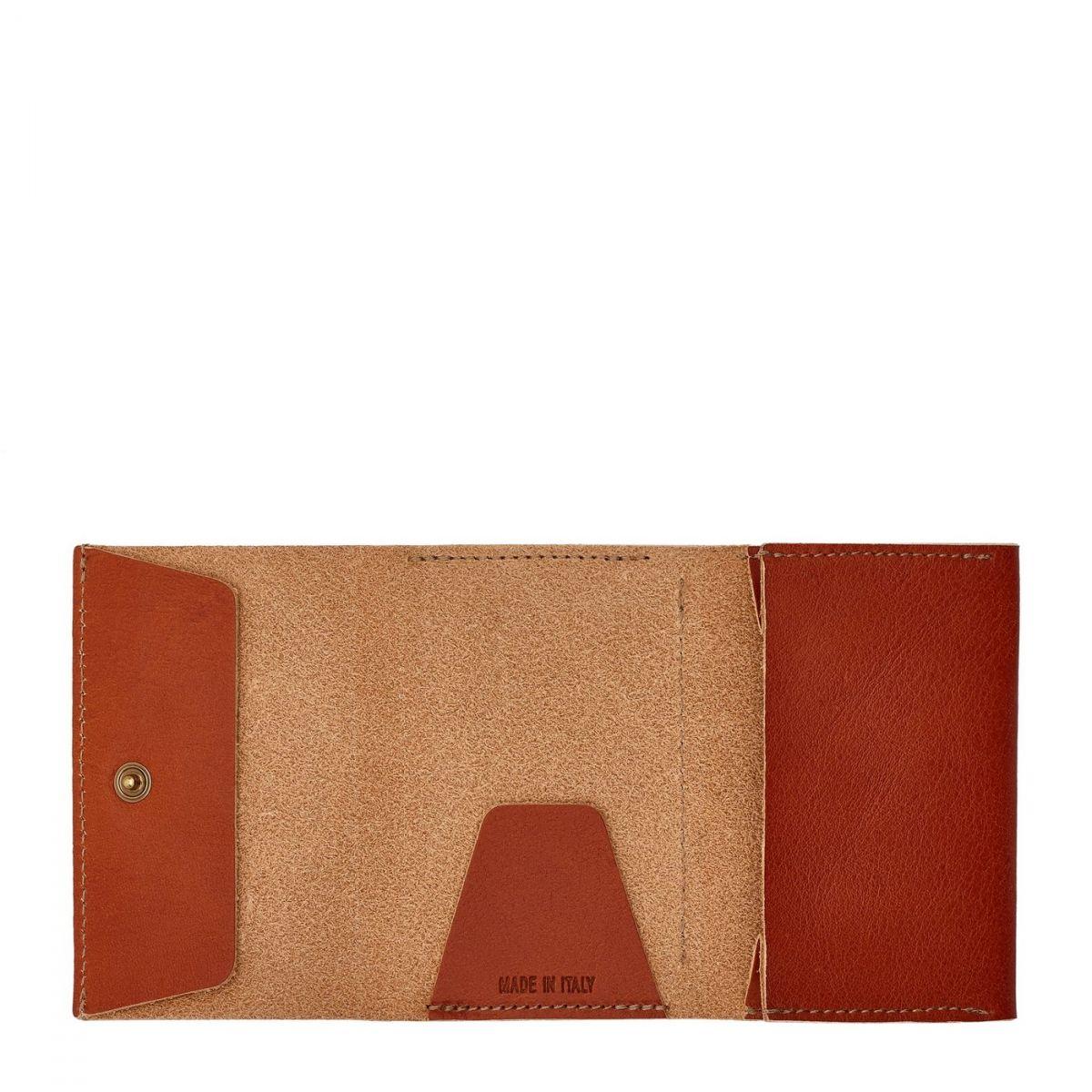 Portefeuille  en Cuir De Vachette SMW111 couleur Caramel | Details