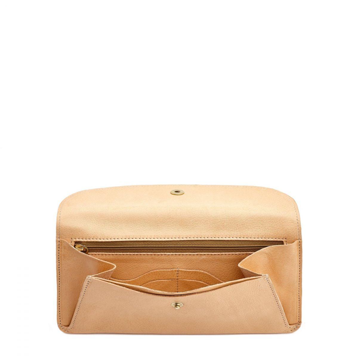 Portafoglio da Donna  in Pelle Di Vacchetta SMW116 colore Naturale | Details