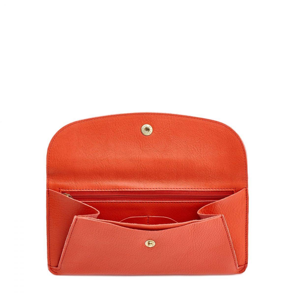 Portefeuille pour Femme  en Cuir De Vachette SMW116 couleur Gazpacho   Details