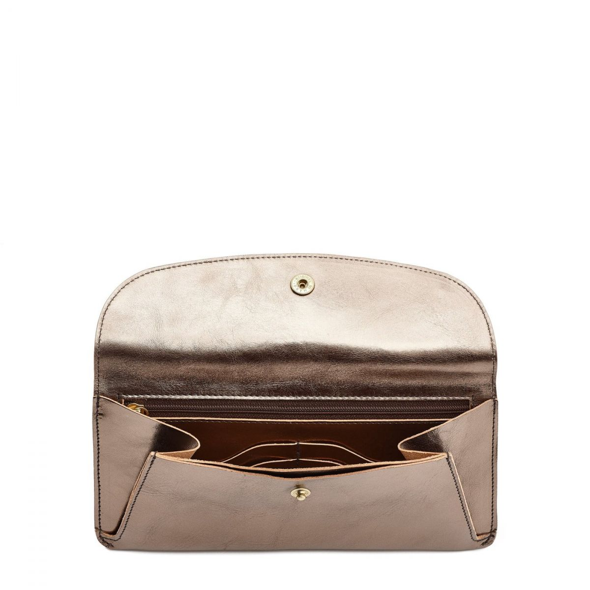 Women's Wallet  in Metallic Leather SMW116 color Metallic Bronze | Details