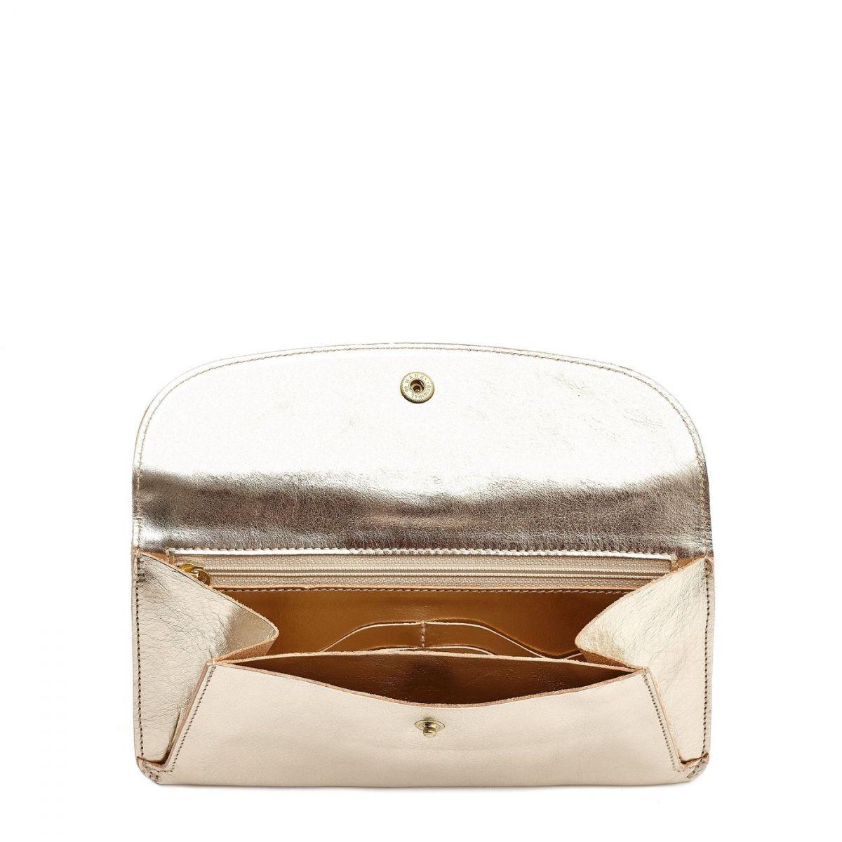Women's Wallet  in Metallic Leather SMW116 color Metallic Platinum | Details