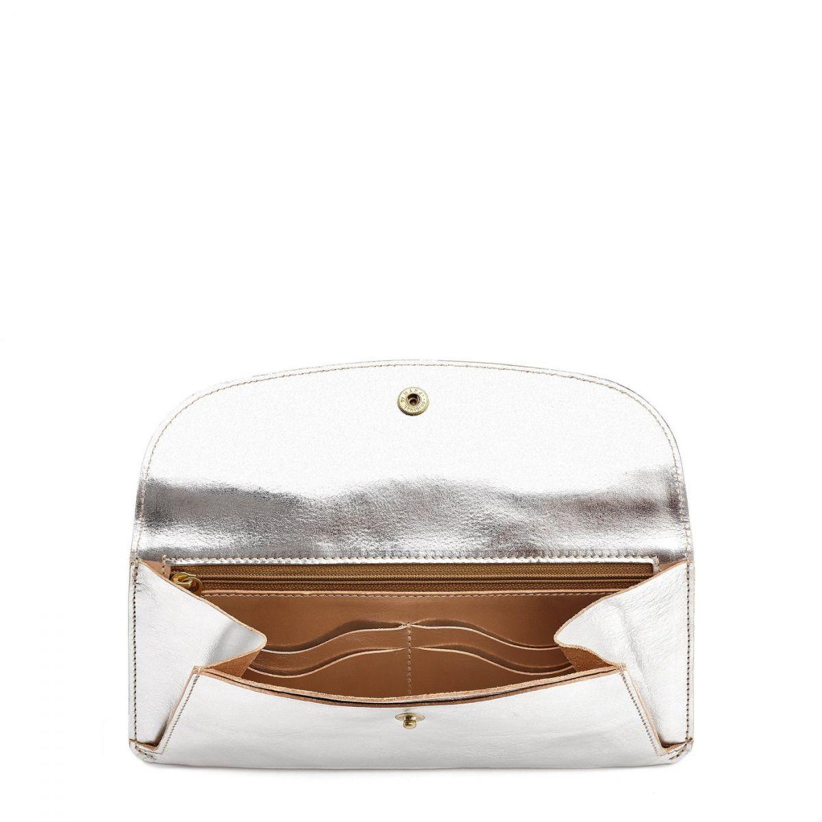 Portafoglio da Donna  in Pelle Metallizzata SMW116 colore Argento | Details