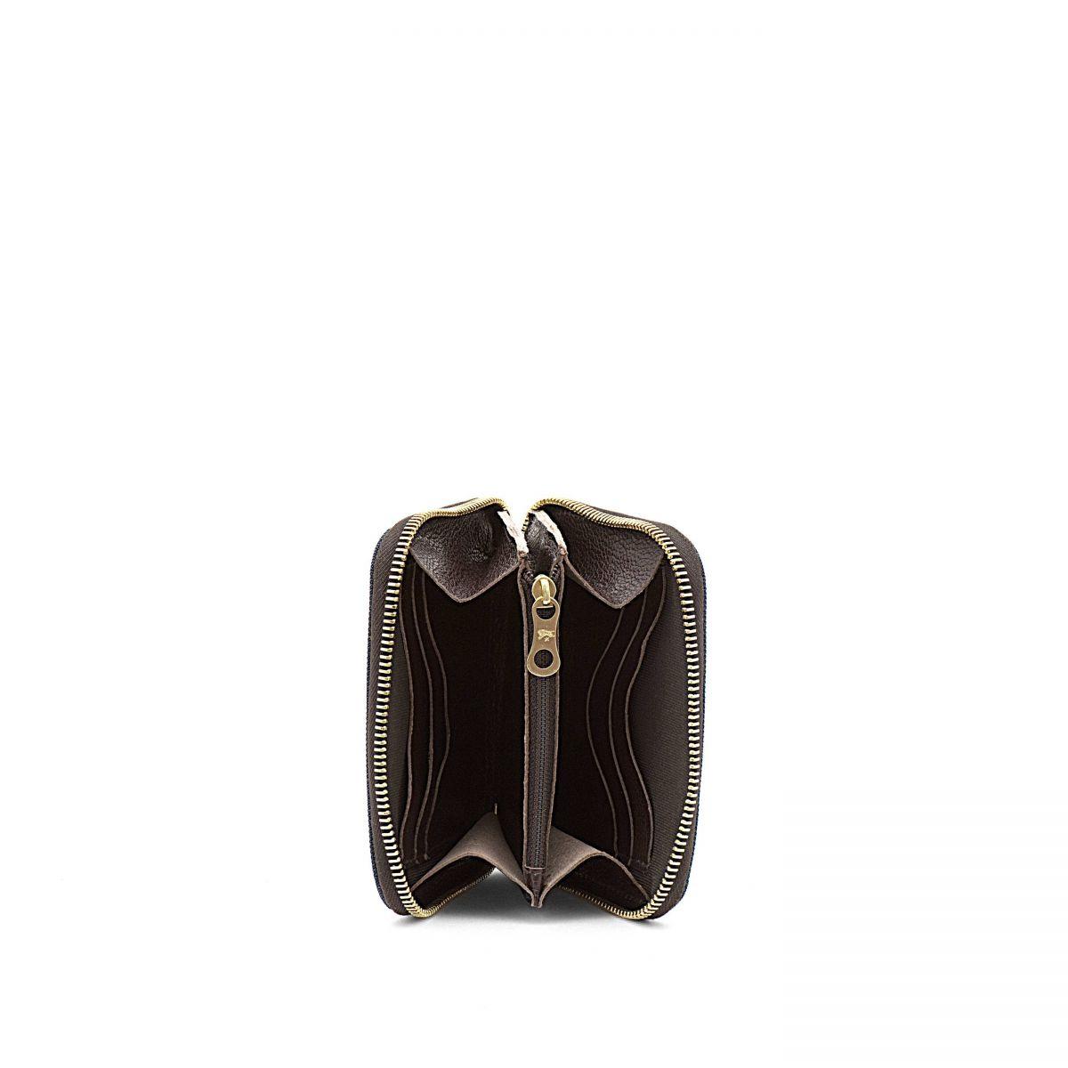 Men's Zip Around Wallet  in Nylon SZW015 color Blue Navy/Dark Brown | Details