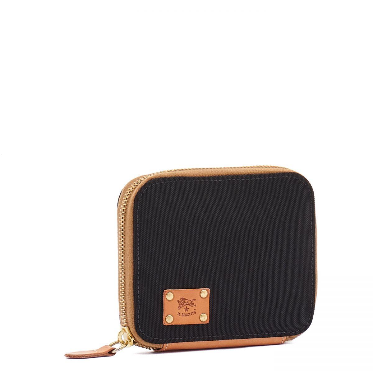 Men's Zip Around Wallet  in Nylon SZW015 color Black/Natural | Details