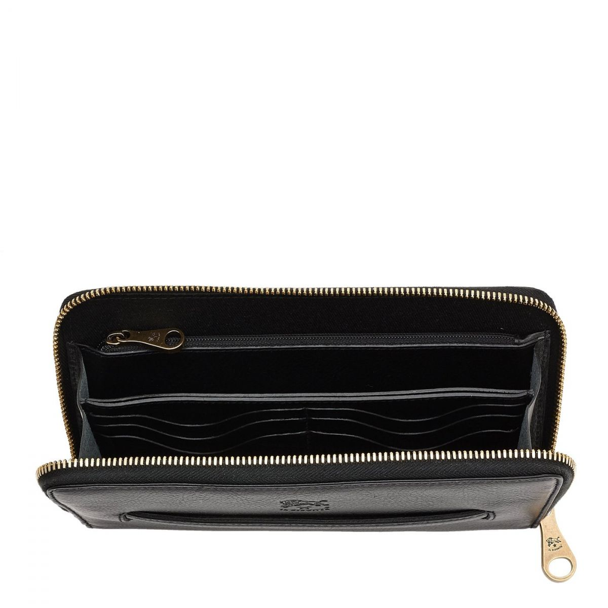 Portefeuille Zippé pour Femme en Cuir De Vachette couleur Noir - SZW028 | Details