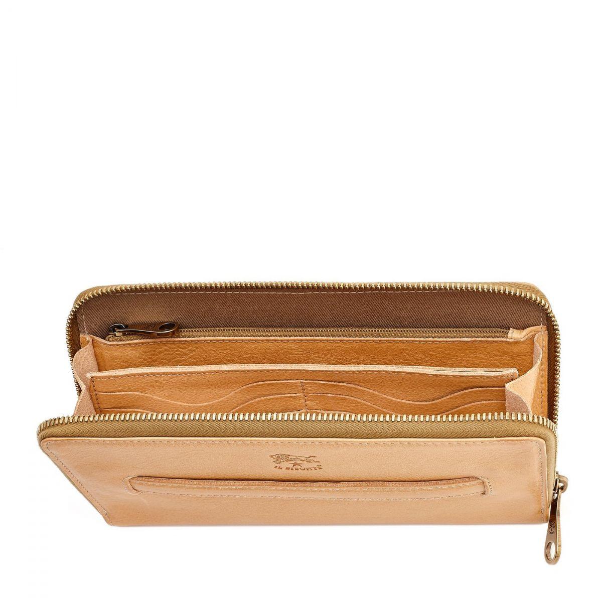 Portafoglio Zip da Donna  in Pelle Di Vacchetta SZW028 colore Naturale | Details