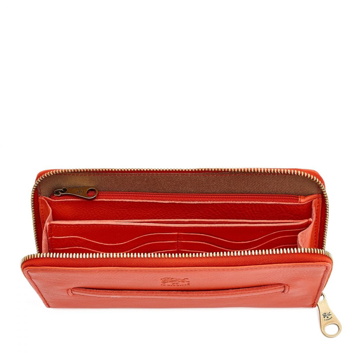 Women's Zip Around Wallet  in Cowhide Leather SZW028 color Gazpacho | Details