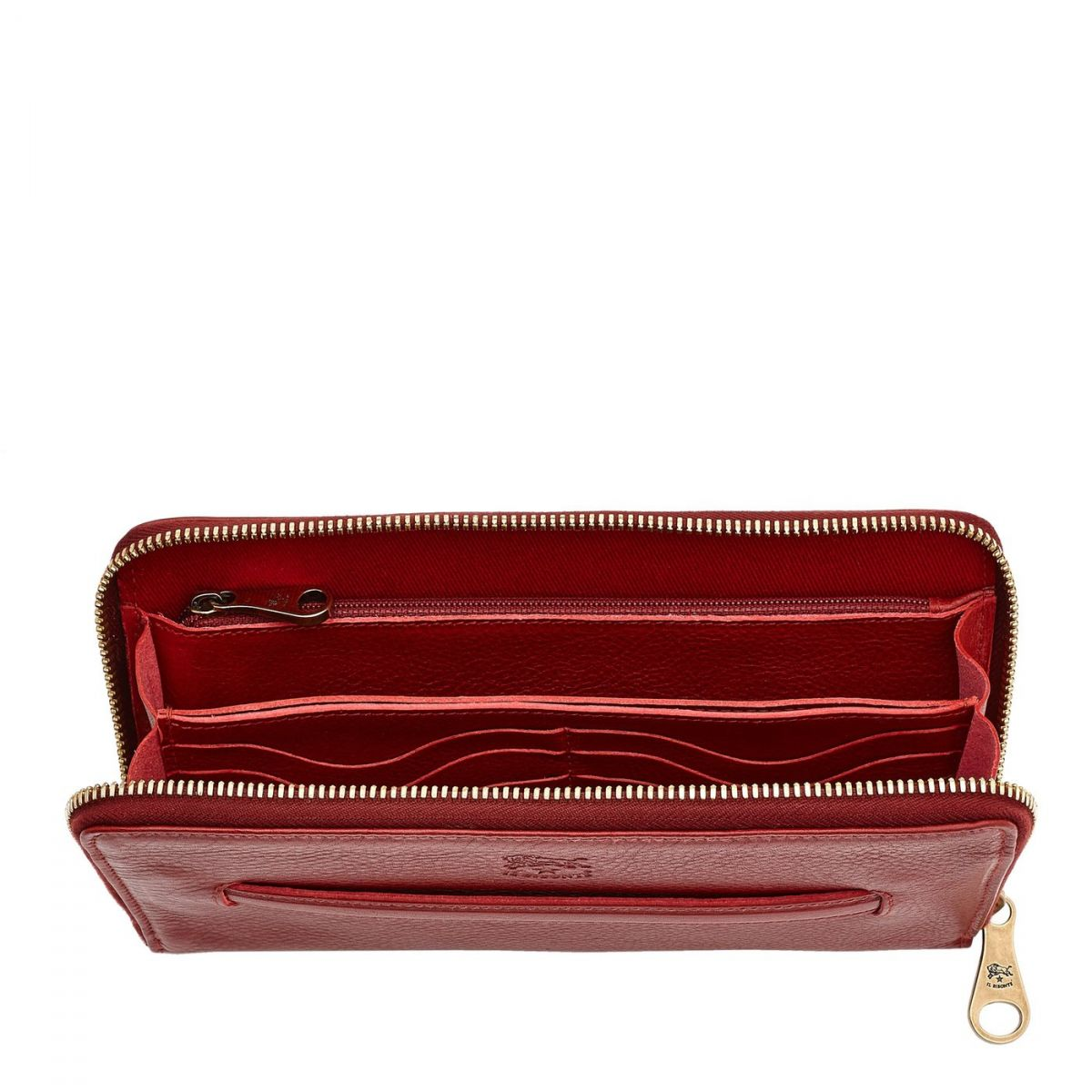 Women's Zip Around Wallet  in Cowhide Leather SZW028 color Red | Details