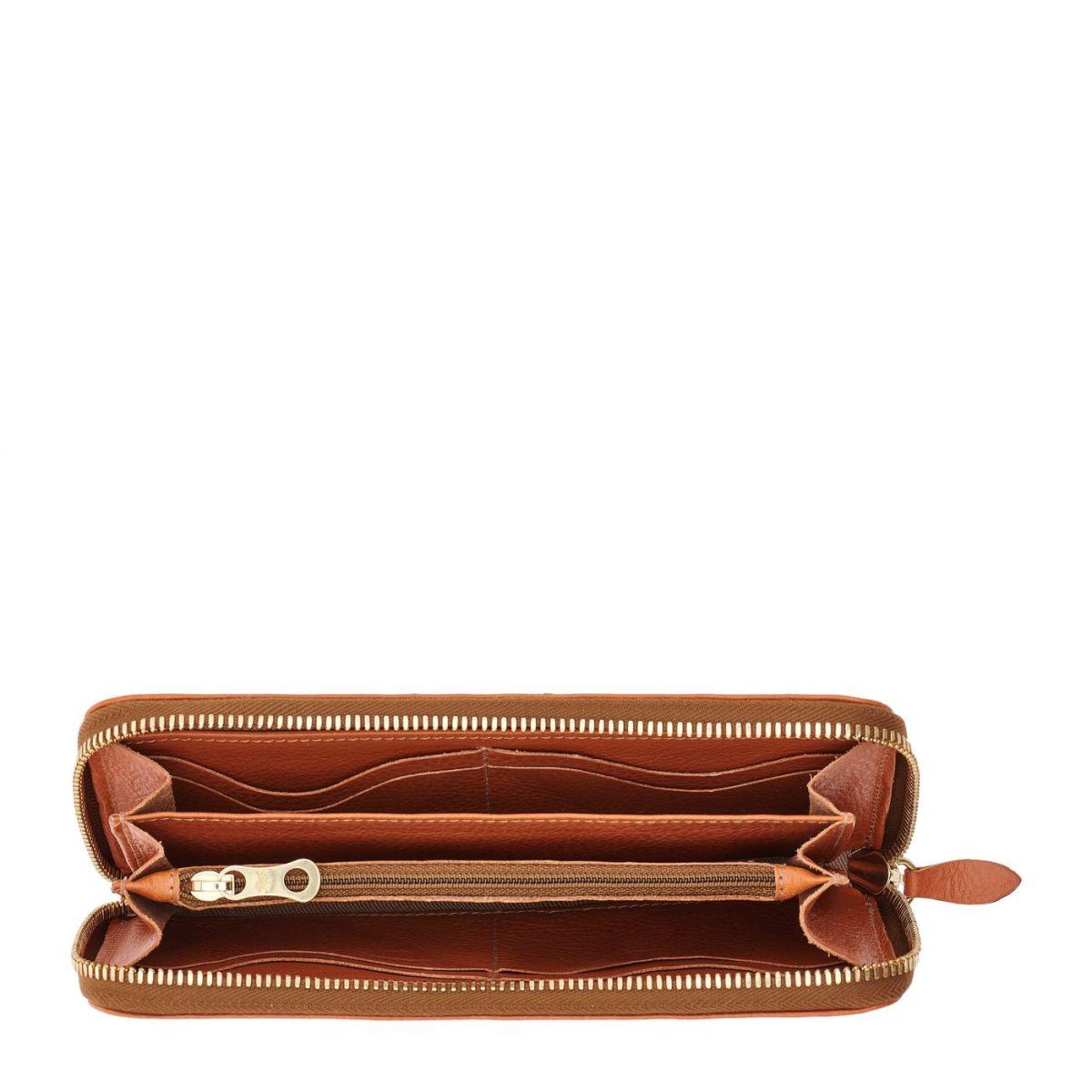 Women's Zip Around Wallet in Cowhide Leather color Caramel - SZW033 | Details