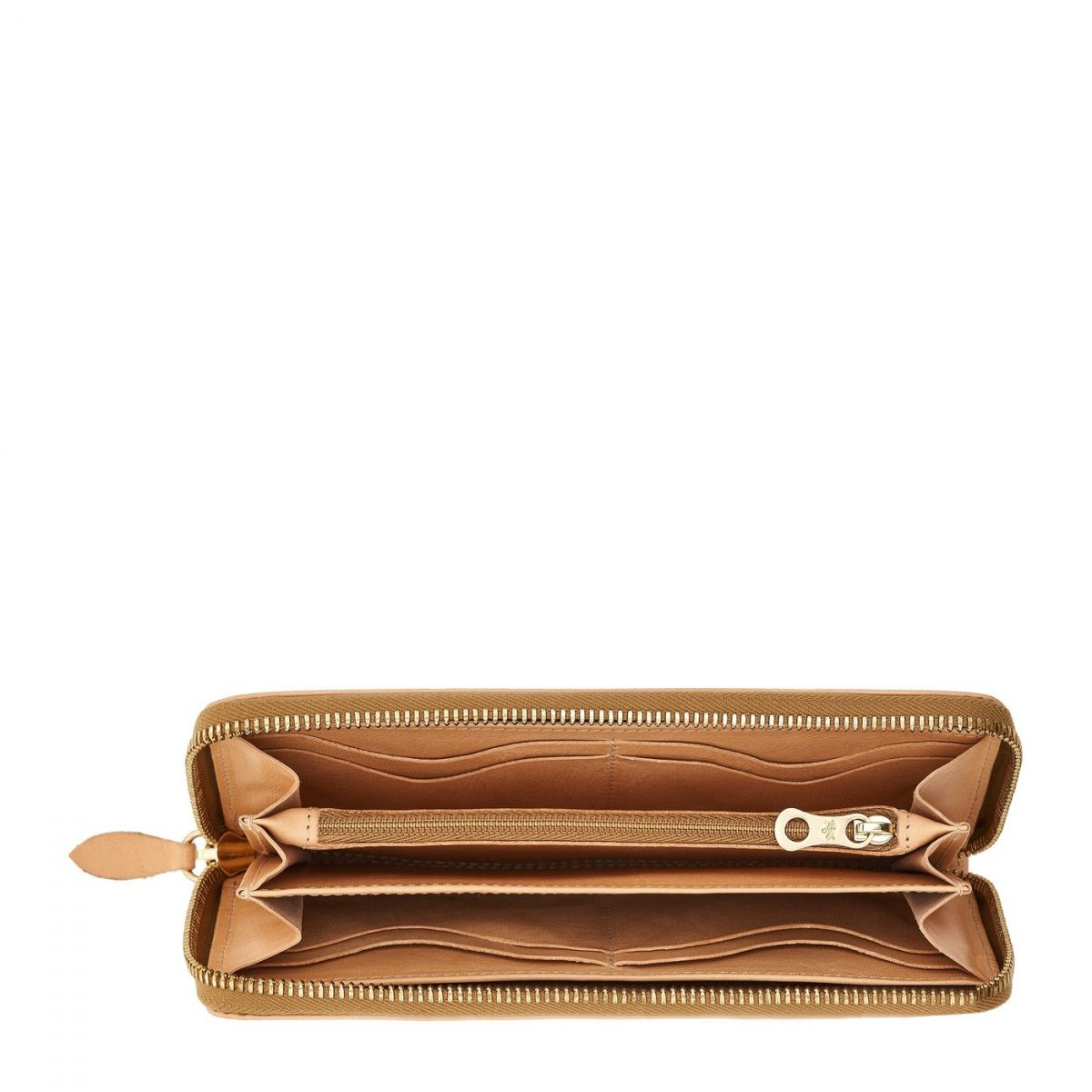 Women's Zip Around Wallet in Cowhide Leather color Natural - SZW033   Details