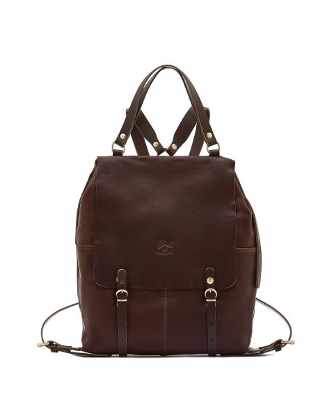 Trappola - Men's Backpack in Vintage Cowhide Leather BBA002 color Dark Brown