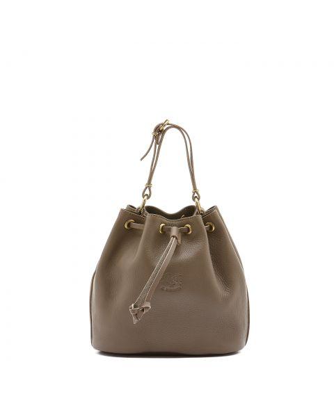 Women's Bucket Bag in Cowhide Double Leather color Light Grey - BBU001
