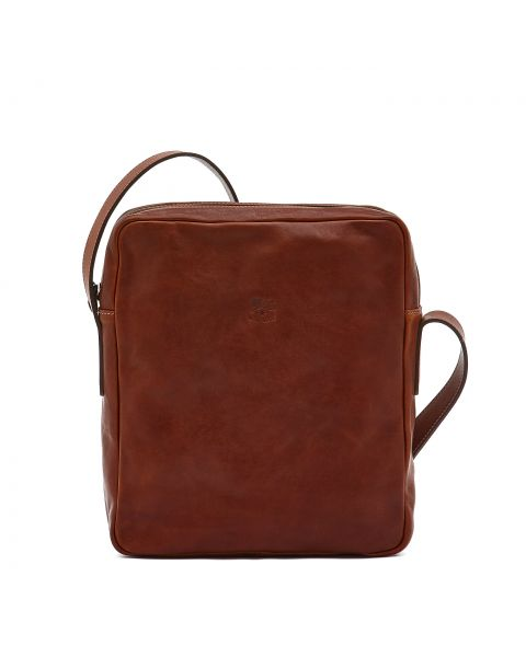 Men's Crossbody Bag New Icon in Vintage Cowhide Leather BCR056 color Dark Brown Seppia