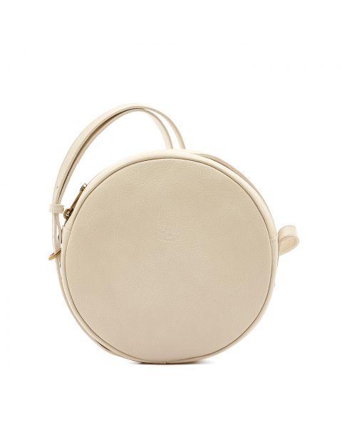 Disco Bag - Borsa A Tracolla da Donna in Pelle Di Vacchetta colore Avorio - Linea Candy BCR094