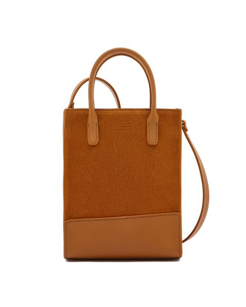 Sole Mini - Women's Handbag in Vegetable Tanned Cowhide Leather/Re-Suede color Natural/Brown - Fifty On line BHA009