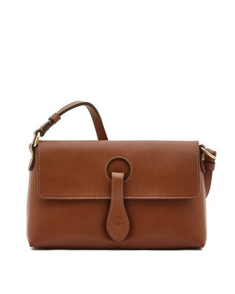 Women's Shoulder Bag in Cowhide Leather color Chocolate - Salina line BSH085