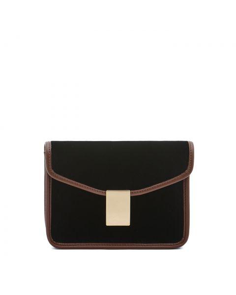 Luisa - Women's Shoulder Bag in Velvet/Calf Leather color Black/Tobacco - Simmetria line BSH133