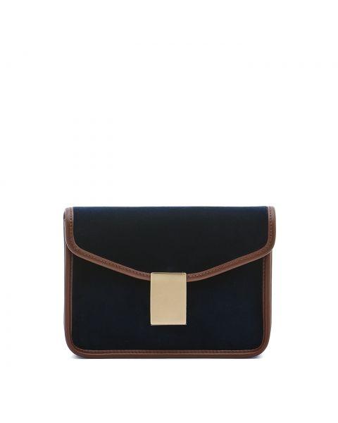 Luisa - Women's Shoulder Bag in Velvet/Calf Leather color Blue/Tobacco - Simmetria line BSH133