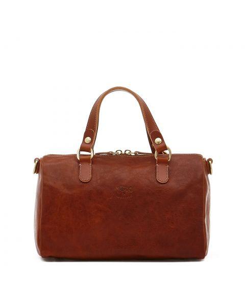 Women's Handbag in Vintage Cowhide Leather BTH019 color Dark Brown Seppia