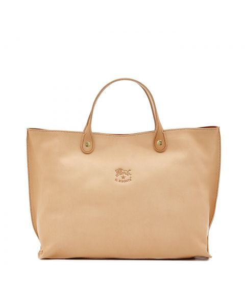 Women's Handbag in Cowhide Double Leather BTH022 color Natural