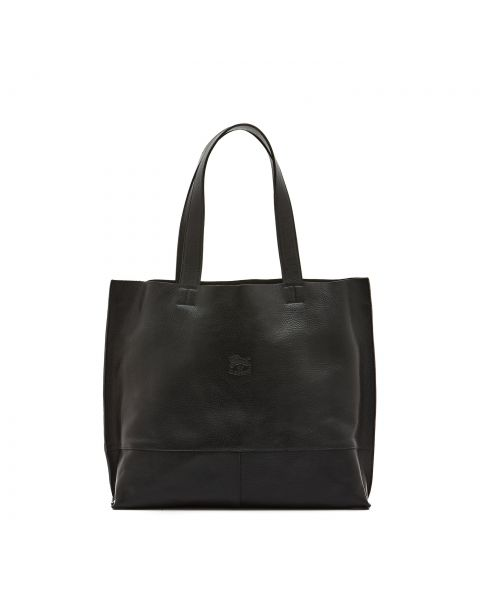 Valentina - Women's Tote Bag Talamone in Cowhide Double Leather BTO003 color Black