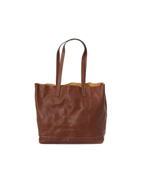 Women's Tote Bag in Vintage Cowhide Leather color Dark Brown Seppia - New Icon line BTO010