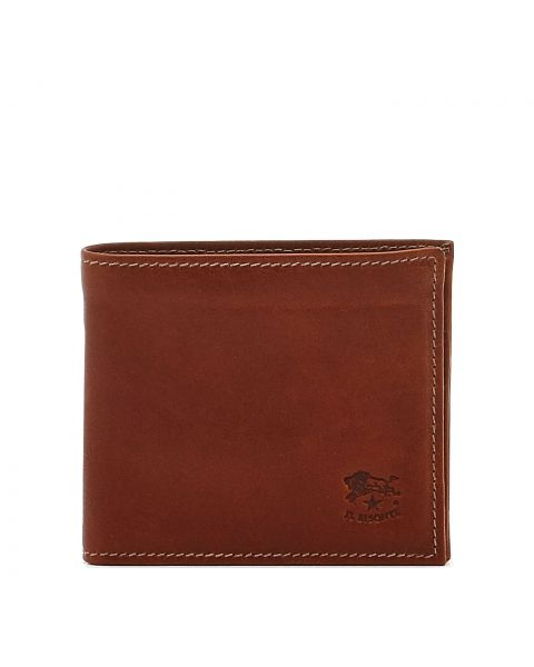 Men's Bi-Fold Wallet in Vintage Cowhide Leather SBW005 color Dark Brown Seppia